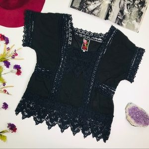 [Johnny Was] Black Embroidered Lace Top Size Large